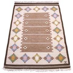 Elsa Ekholm, Flat Weave Röllakan Carpet, 1950s