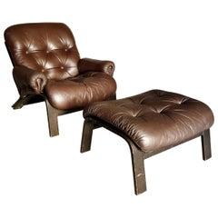 Elsa & Nordahl Solheim Ry-Wing Armchair & Ottoman for Rybo Rykken & Co, 1974