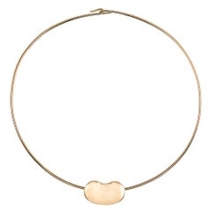 Elsa Peretti for Tiffany & Co. Large Bean Necklace on Golden Wire