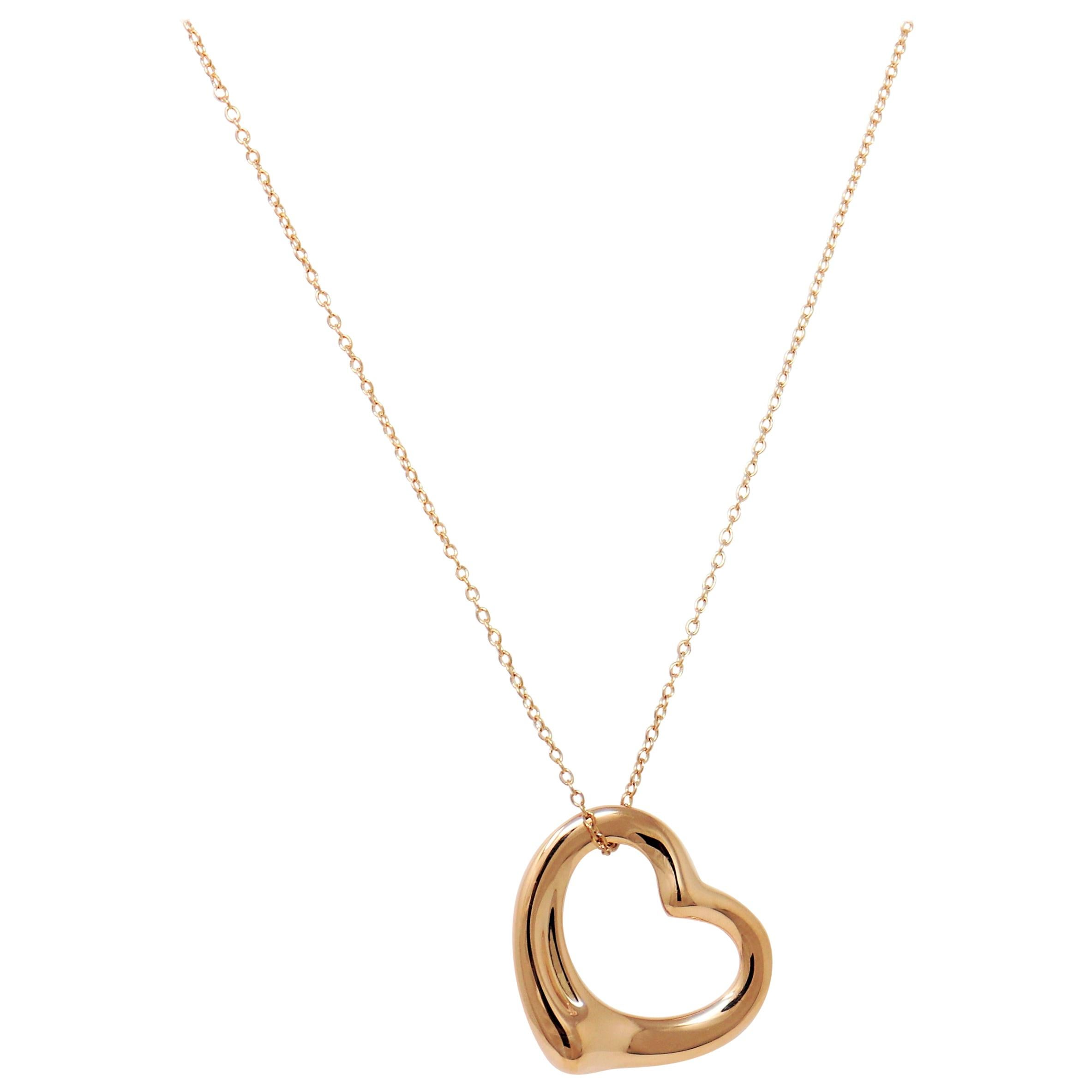 Elsa Peretti for Tiffany & Co. 18 Karat Rose Gold Open Heart Pendant Necklace
