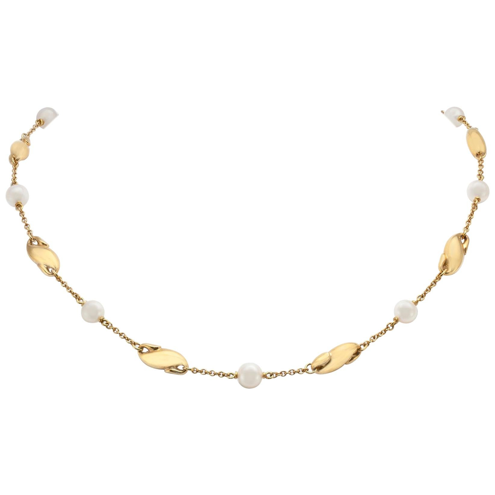 Elsa Peretti for Tiffany & Co. Gold and Mother of Pearl Necklace