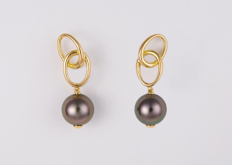 Contemporary Elsa Peretti for Tiffany & Co. Gold and Tahitian Pearl Drop Earrings For Sale