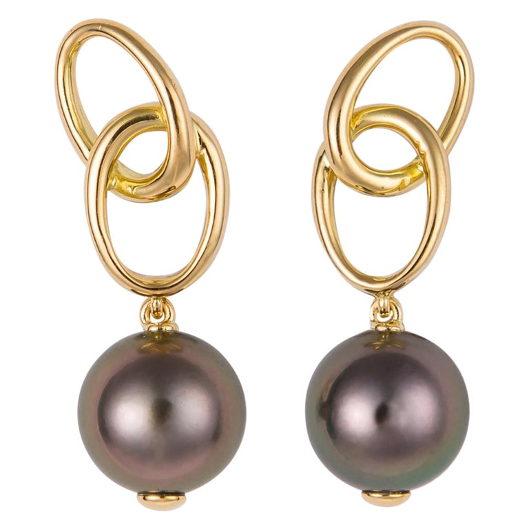 Elsa Peretti for Tiffany & Co. Gold and Tahitian Pearl Drop Earrings For Sale
