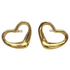 Elsa Peretti for Tiffany & Co. Gold Open Heart Earrings
