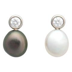 Elsa Peretti for Tiffany & Co. Keshi Pearl and Diamond Earrings