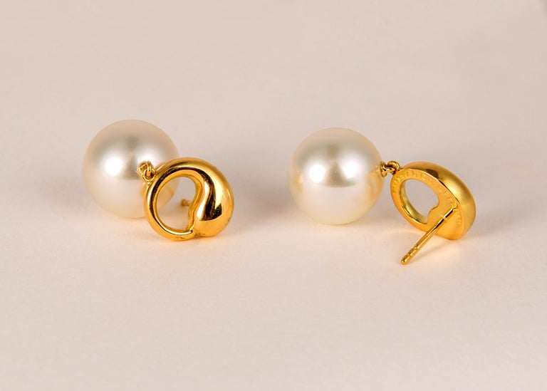 Elsa Peretti For Tiffany And Co Pearl And Gold Earrings