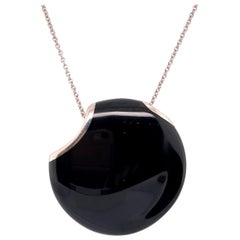 Elsa Peretti for Tiffany & Co. Platinum Black Enamel Pendant Necklace