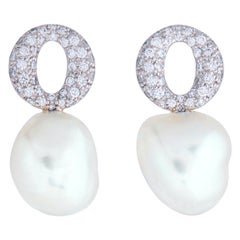Elsa Peretti for Tiffany & Co. Platinum Diamond and Keshi Pearl Earrings
