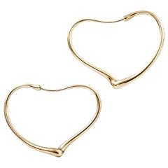 Elsa Peretti Open Heart Earrings Hoops Tiffany & Co. Yellow Gold