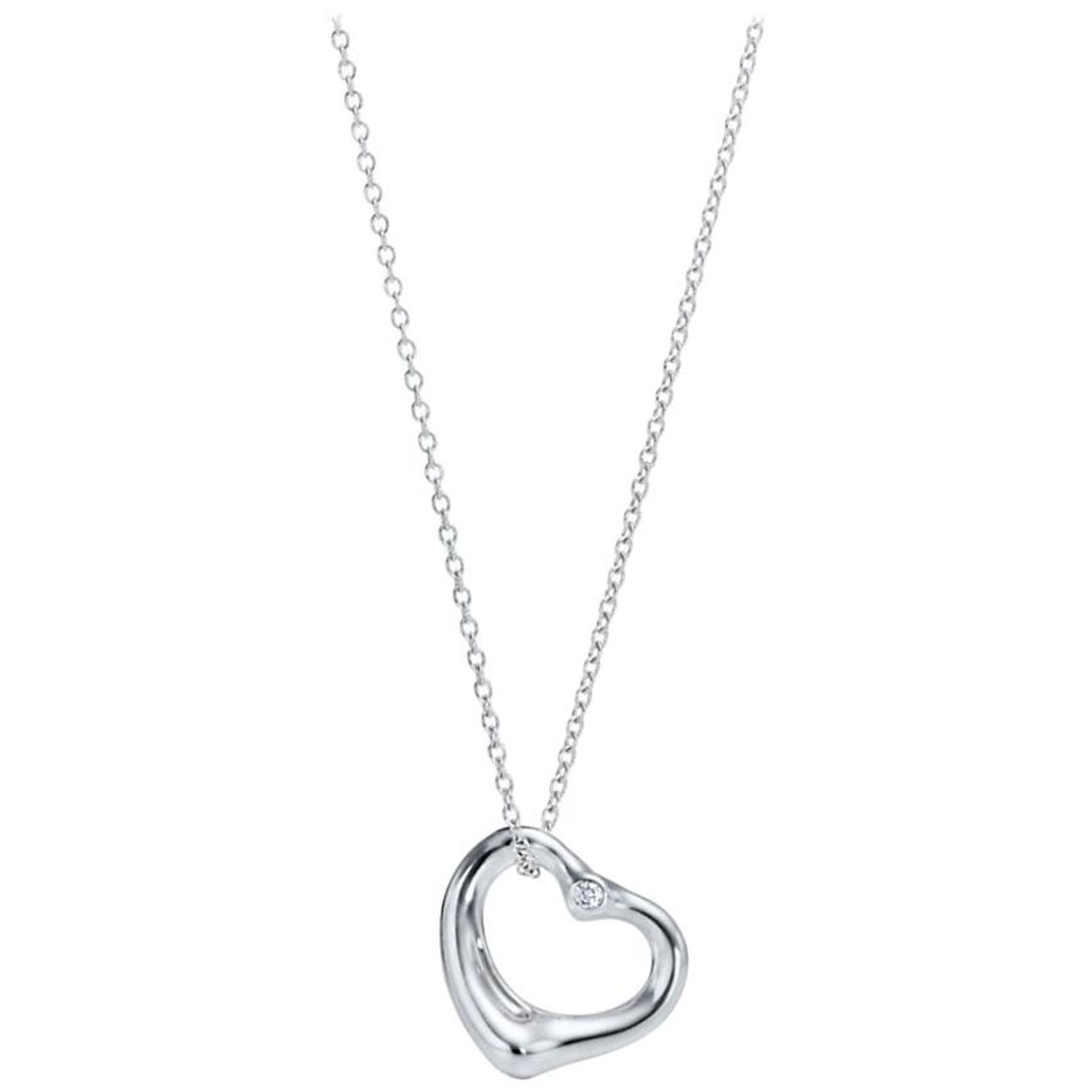 a3b35c166 Elsa Peretti Open Heart Pendant in Silver with Diamonds Tiffany and Co. at  1stdibs