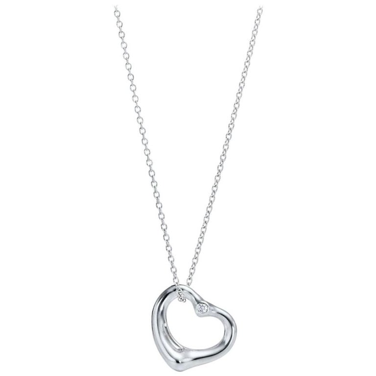 adc8aae63 Elsa Peretti Open Heart Pendant in Silver with Diamonds Tiffany and ...