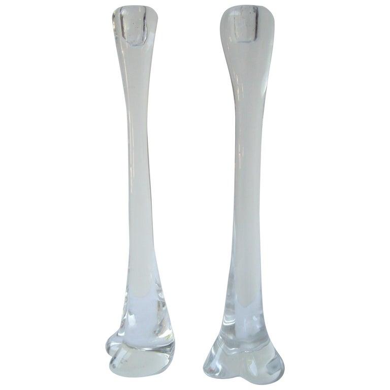 "Elsa Peretti Pair of ""Bone"" Large Glass Candlesticks for Tiffany & Co, Acid Mark For Sale"