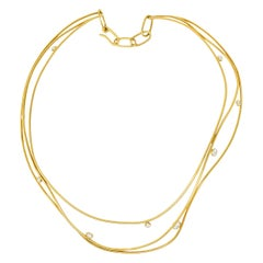 Elsa Peretti Tiffany & Co. 1.08 Carat Diamond 18 Karat Gold Wave Collar Necklace