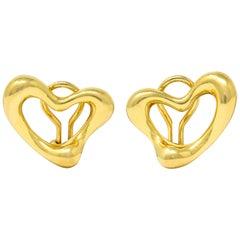 Elsa Peretti Tiffany & Co. 18 Karat Gold Open Heart Ear-Clip Earrings