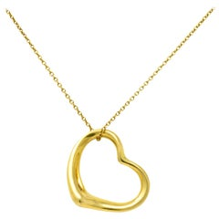 Elsa Peretti Tiffany & Co. 18 Karat Gold Open Heart Pendant Necklace