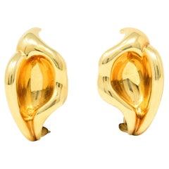 Elsa Peretti Tiffany & Co. 18 Karat Yellow Gold Calla Lily Ear-Clip Earrings