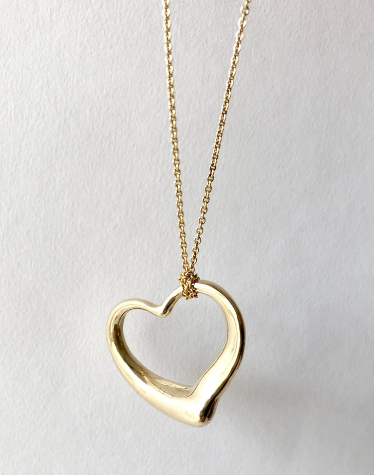 26dd925c7 Modernist Elsa Peretti Tiffany & Co. 18 Karat Gold Large Floating Heart Pendant  Necklace For