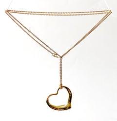 Elsa Peretti Tiffany & Co. 18K Gold Large Floating Heart Pendant Necklace