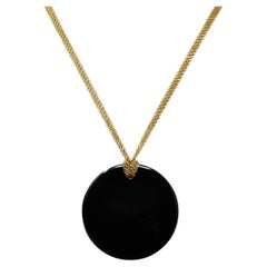 Elsa Peretti Tiffany & Co. Black Nephrite Jade 18 Karat Gold Touchstone Necklace