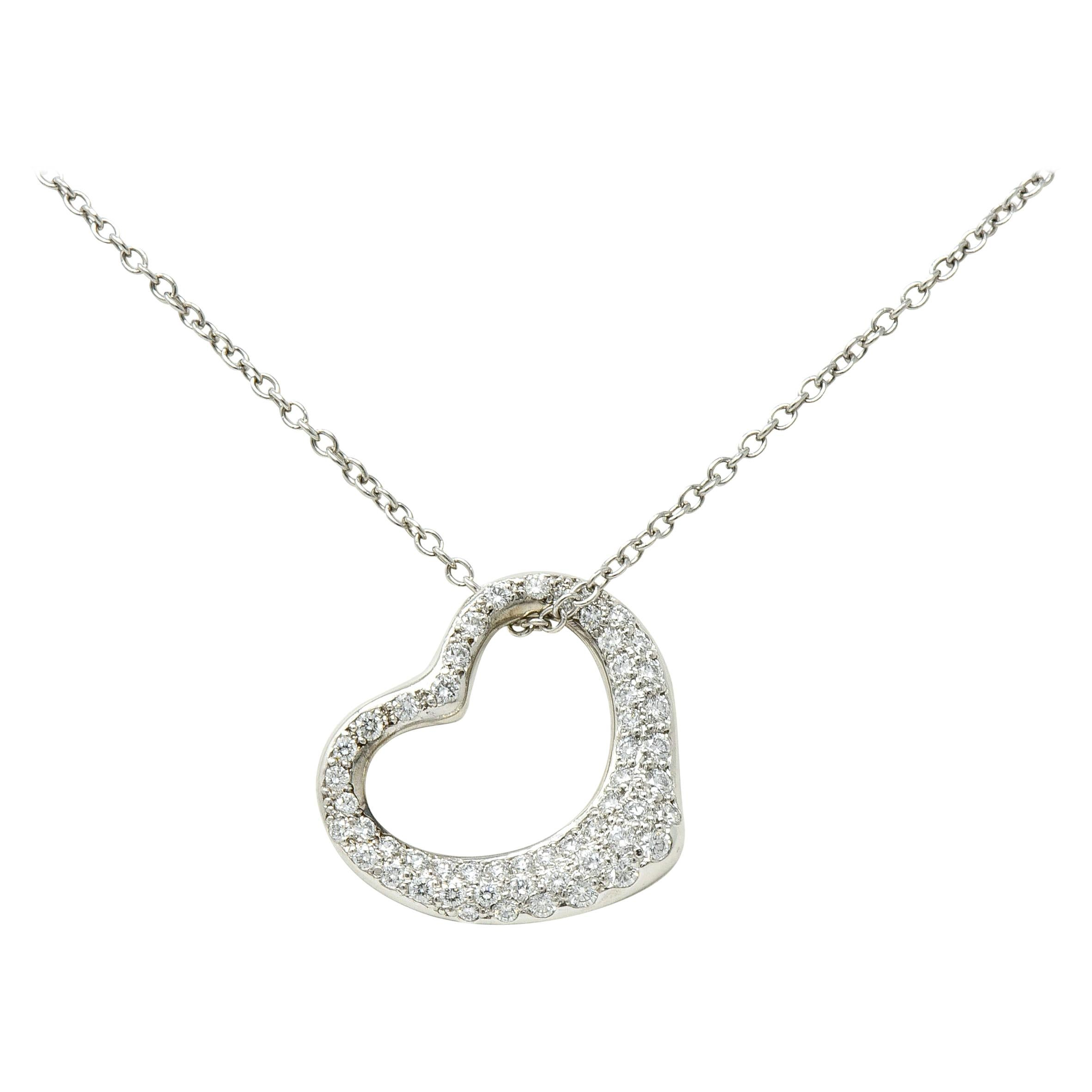 Elsa Peretti Tiffany & Co. Diamond Platinum Open Heart Pendant Necklace