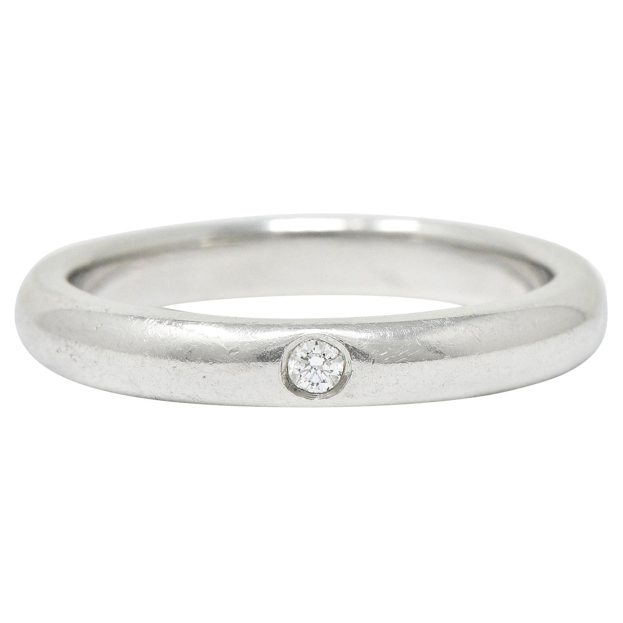Elsa Peretti Tiffany & Co. Inset Diamond Platinum Band Ring