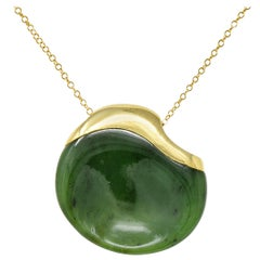 Elsa Peretti Tiffany & Co. Jade 18 Karat Gold Touchstone Pendant Necklace