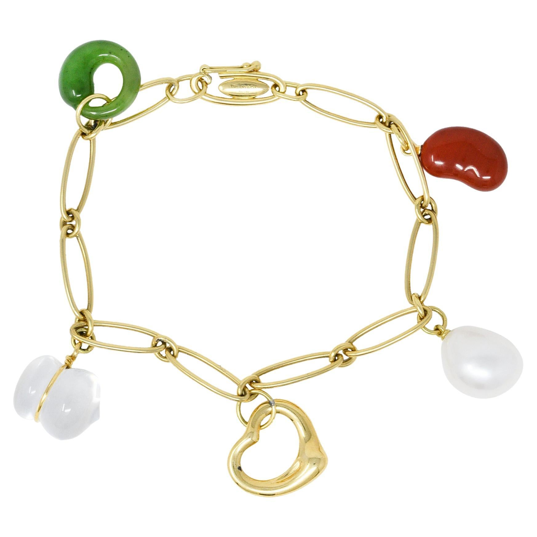 Elsa Peretti Tiffany & Co. Jade Agate Crystal 18 Karat Gold Five Charm Bracelet
