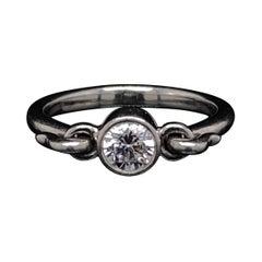 Elsa Peretti Tiffany & Co. Round Brilliant Diamond Platinum Swan Ring