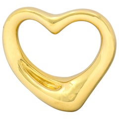 Elsa Peretti Tiffany & Co. Spain 18 Karat Gold Large Open Heart Pendant