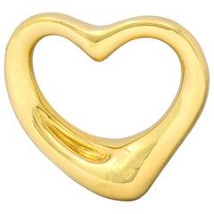 Elsa Peretti Tiffany & Co. Spain 18 Karat Gold 25MM Open Heart Pendant