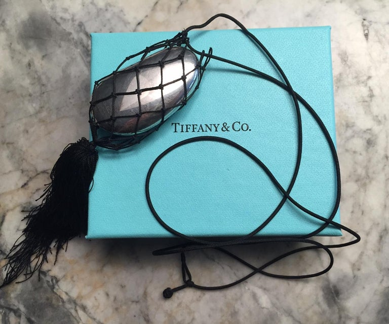 Elsa Peretti Tiffany Sterling Bean Hand Made Black Mesh Necklace with Tassel  In Good Condition For Sale In New Hope, PA