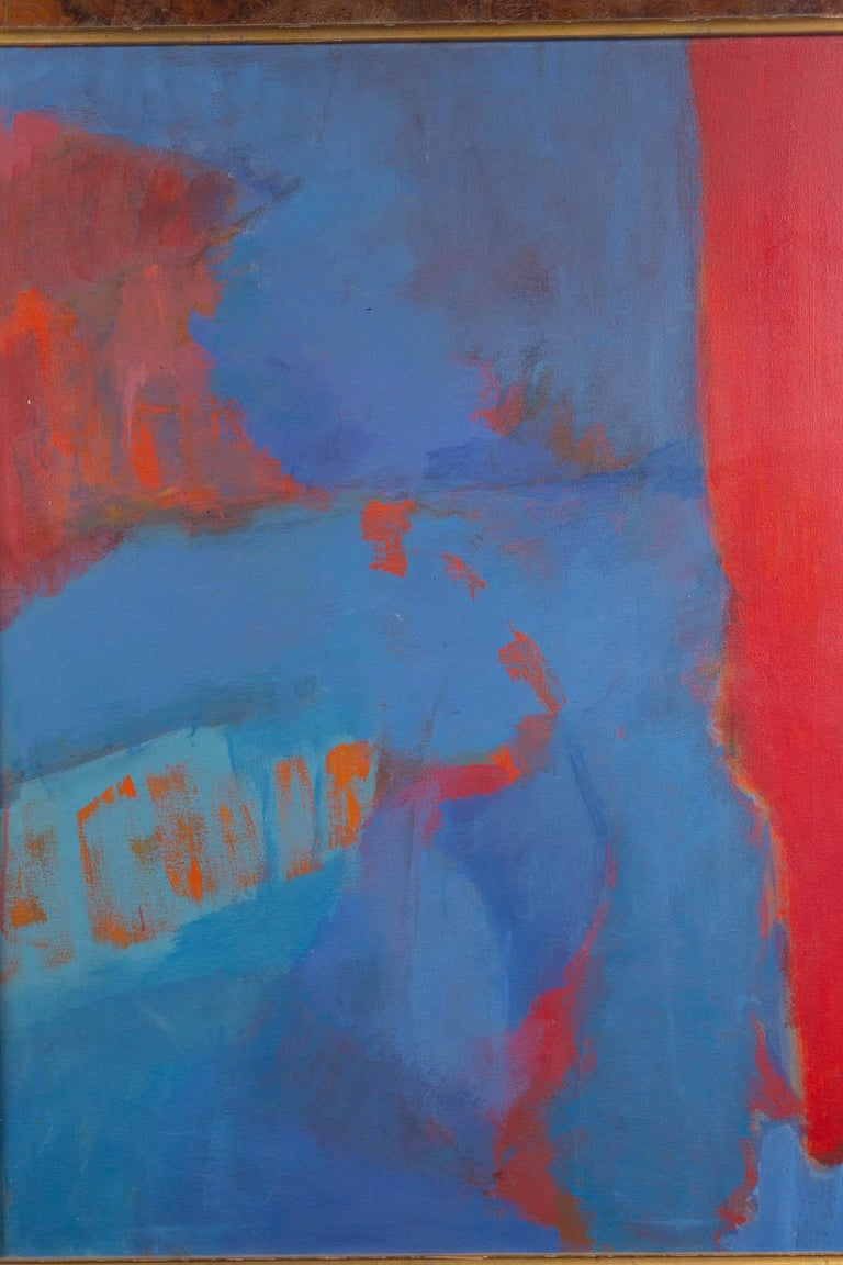 American Elsa Schachter, Abstract Oil on Canvas, Reds, Blues, 1960s For Sale