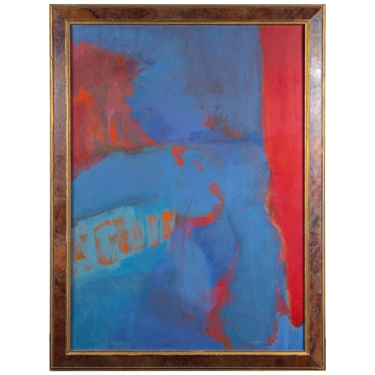 Elsa Schachter, Abstract Oil on Canvas, Reds, Blues, 1960s For Sale