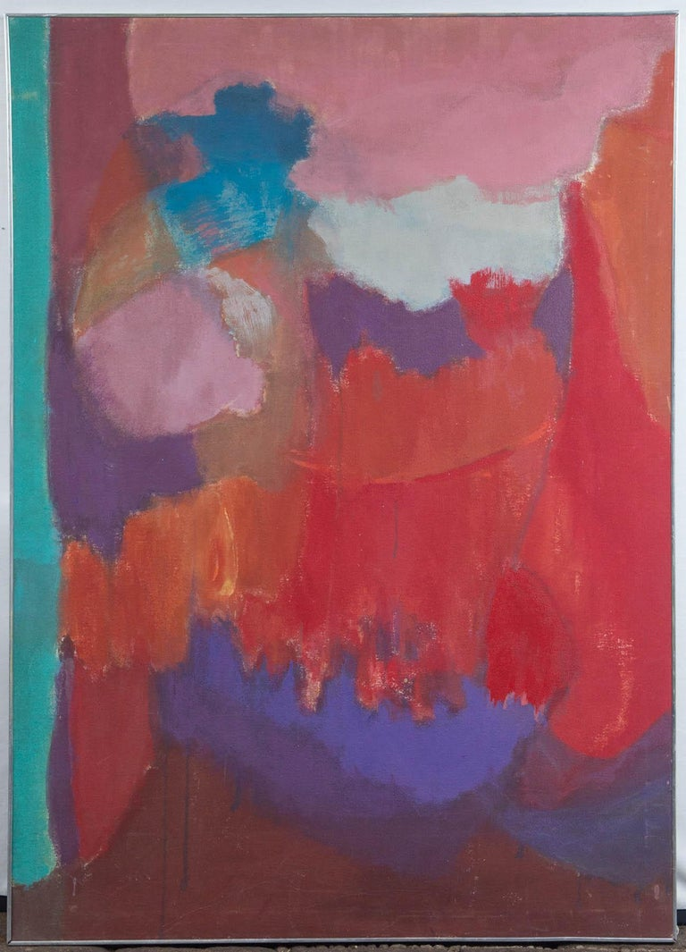 American artist, Elsa Schachter born 1912. Abstract oil on canvas of pink, purple, red, turquoise. Signed on the back. Framed in a thin chrome frame, circa 1960.