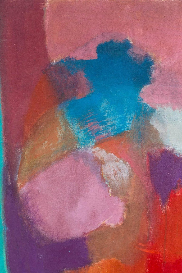 American Elsa Schachter, Abstract Painting Pinks, Purples, Reds, 1960s For Sale