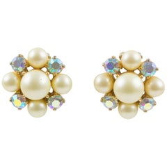Elsa Schiaparelli 1960s Clip-on Earrings Pearl Imitation & Borealis Rhinestones