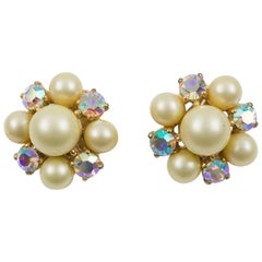 Elsa Schiaparelli 1960s Signed Jeweled Clip Earrings
