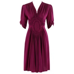 ELSA SCHIAPARELLI c.1930's Magenta Smocked Braided Trim Belted Dress Early Label