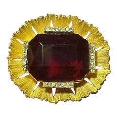 ELSA SCHIAPARELLI Designer Signed Chunky Crystal Brooch Pin