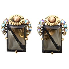 Elsa Schiaparelli Faceted Crystal Clip on Earrings Mid Century