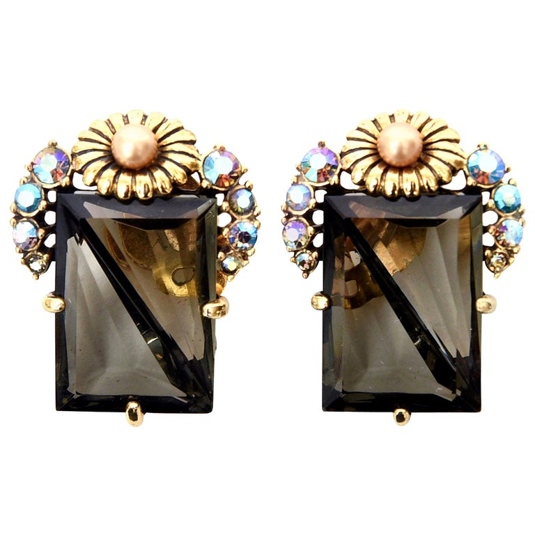 Elsa Schiaparelli Faceted Crystal Clip on Earrings Mid Century Modern For Sale