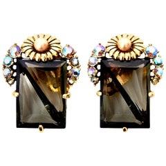 Elsa Schiaparelli Faceted Crystal Clip on Earrings Mid Century Modern