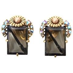 Elsa Schiaparelli Faceted Crystal Clip on Earrings Vintage