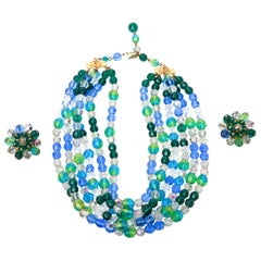 Elsa Schiaparelli Glass Strand Necklace & Clip on Earrings Set Of Vintage
