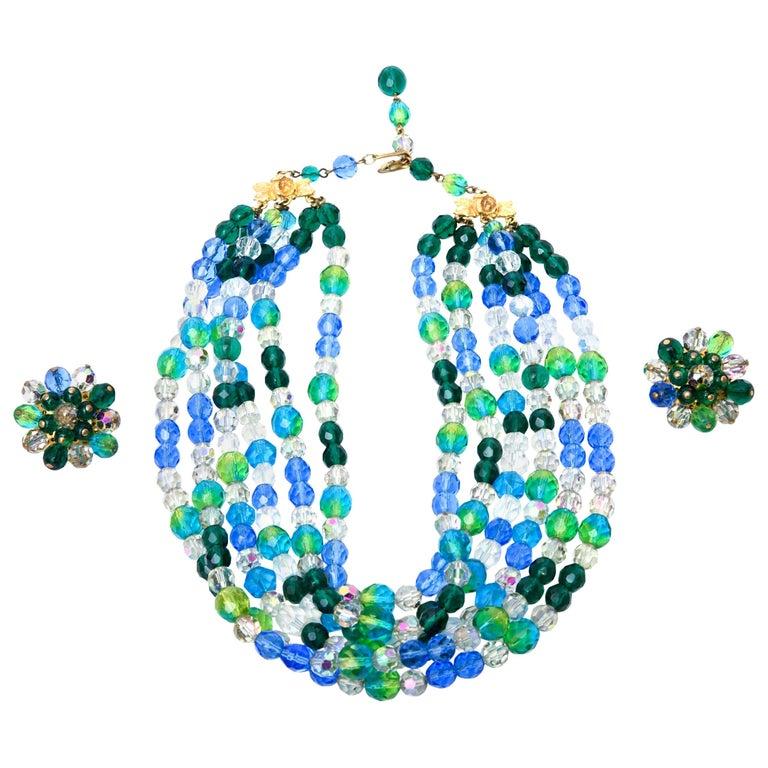Elsa Schiaparelli Glass Strand Necklace & Clip on Earrings Set Vintage For Sale