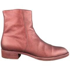 ELSA Size 10.5 Burgundy Metallic Leather Ankle Boots