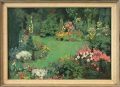 """""""Garden View with Flowers"""" Early 20th Century Dutch Impressionistic Oil Painting"""