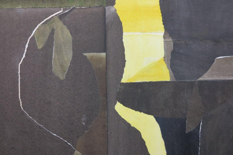 Elsie B. (Gatch) Driggs (1898-1992) – Three Black Vases, 1960. Mixed media collage, SLR. Abstract piece with ribbons of light breaking through darkness. 34.5″h x 31″w. Unframed. Collage is glued down to a backing that has warped just slightly. It