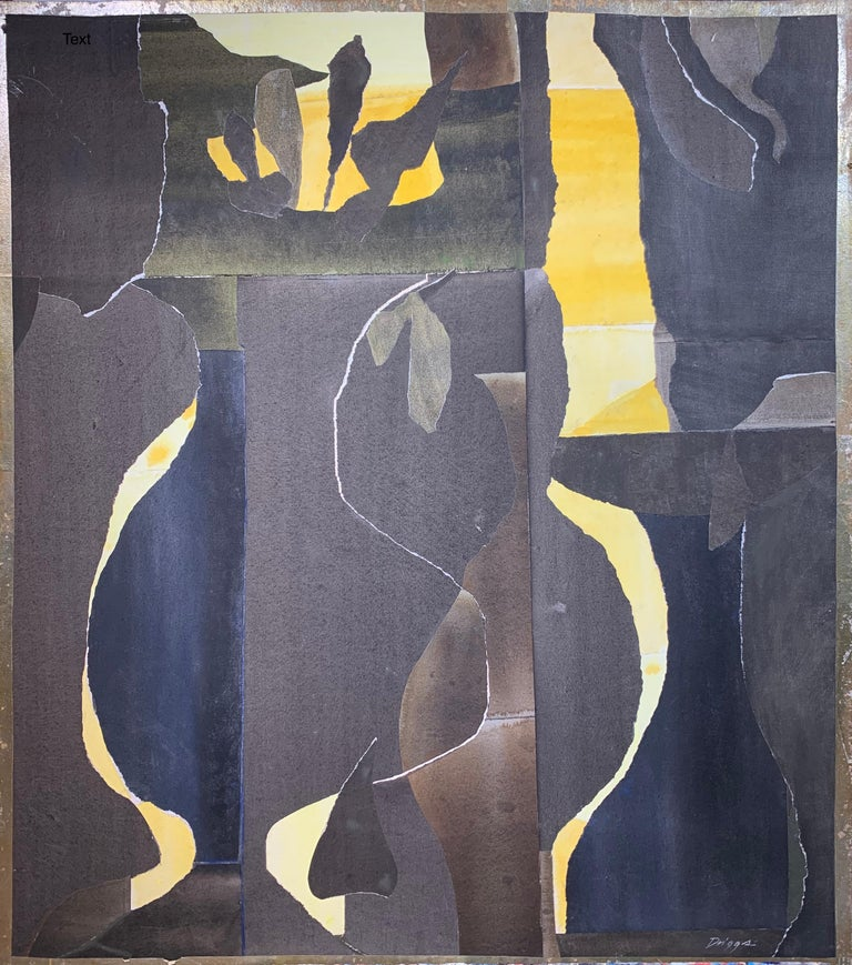 Elsie Driggs Abstract Painting - Three Black Vases (abstract expressionist still life)