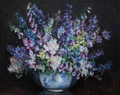 A Floral Arrangement of Phlox - Art Deco tonalist oil painting female artist